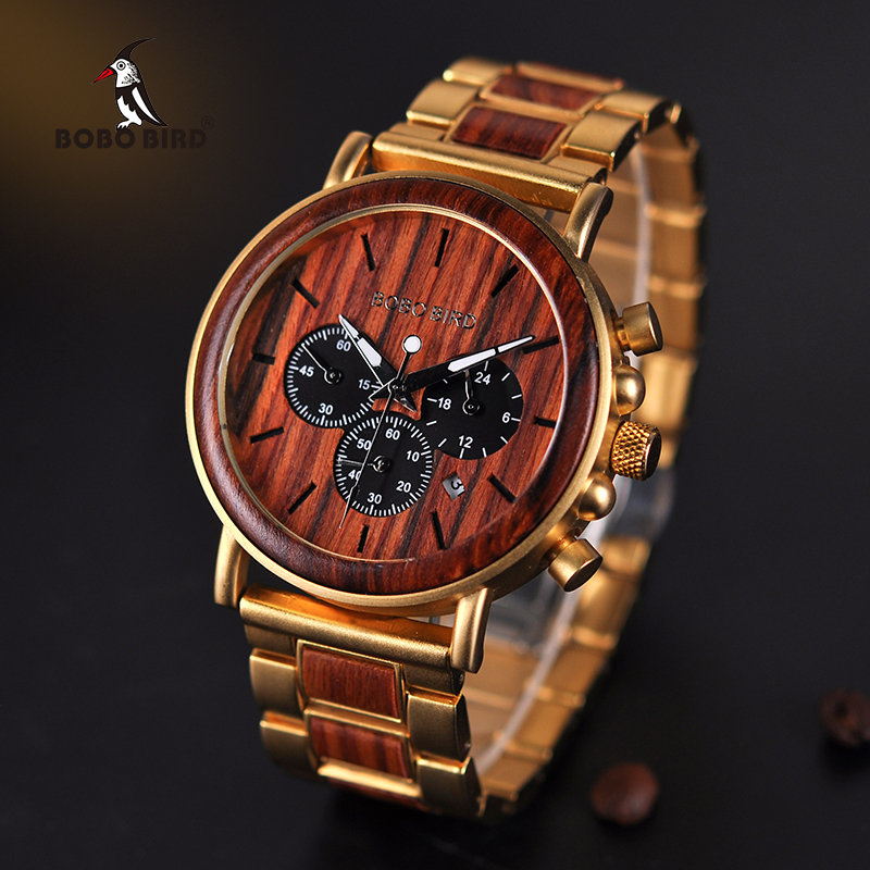 BOBO BIRD Wooden Men Watch Relogio Masculino Top Brand Luxury Chronograph Date Display Stop Watches erkek kol saati Great Gifts(China)