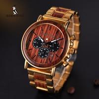 BOBO BIRD Wooden Men Watch Relogio Masculino Top Brand Luxury Chronograph Date Display Stop Watches erkek kol saati W Q26