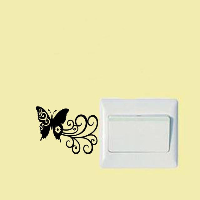 stylish switch sticker butterfly swirl styling funny vinyl wall