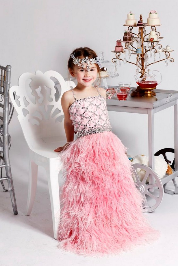 Glitz Beading Princess Girls Pageant Dress Children Pink Little Girls Evening Gowns Prom Party Toddler Evening Little Girl Dress in stock layered pre teen party gowns little girls pageant dress pink color