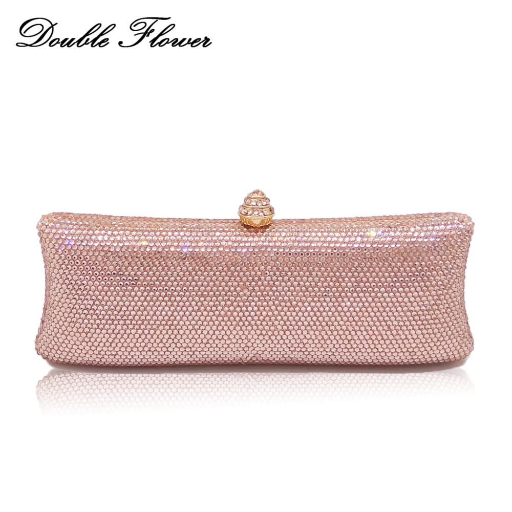 Double Flower Dazzling Elegant Champagne Crystal Women Evening Bags Wedding Cocktail Clutch Purse Ladies Party Luxury Handbags