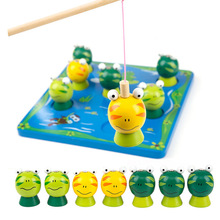 New Wooden Toy Puzzle Toddler Fishing Toys Cute Fishing Frog Game Parent-child Children Fun Educational Toys Gifts