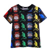 Summer Boys Tops Face and Monkey Printing Boys T-Shirt White and Black Color Children Clothes BT90315-9L Causual tops