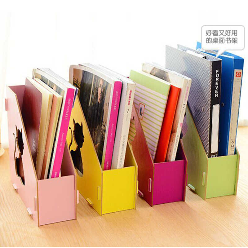 1 pcs Home School Office Wooden Detachable Desktop Basket DIY Single Compartment File Holder Organizer Hollow-Out Cat Storage Ba