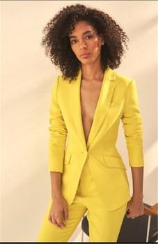 edf3c0622 Amarillo mujeres muesca solapa chaqueta + Pantalones de las mujeres trajes  de las mujeres traje de