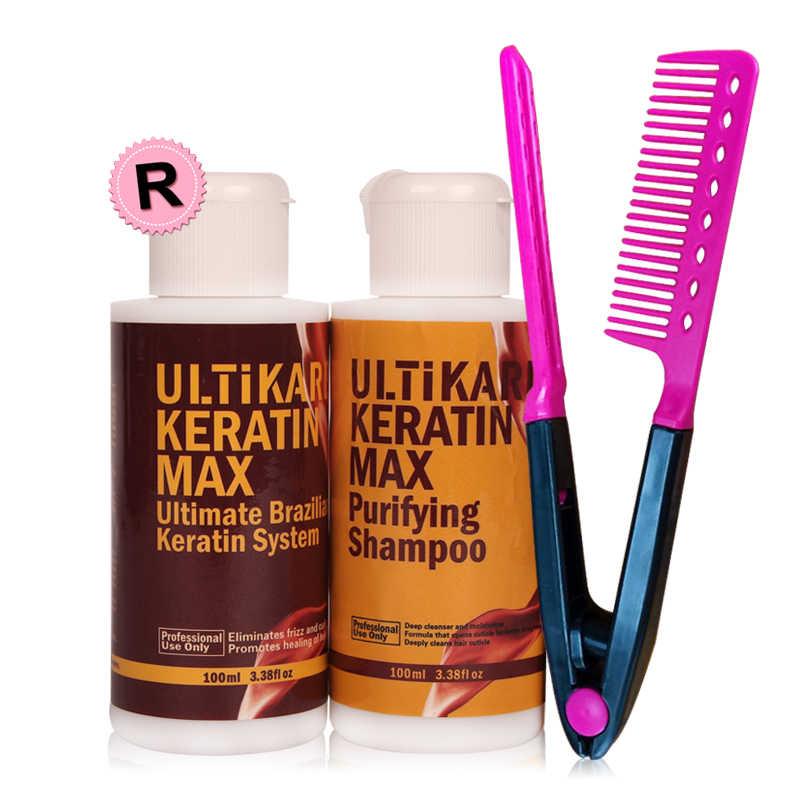 Czekoladki 100ml brazylijski zabieg keratynowy 12% formaldehyd odporny na prostowanie włosów + 100ml szampon oczyszczający + bezpłatny grzebień