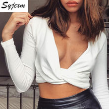Syjcxm Spring/summer women's white long-sleeved, deep v-neck, cross-band tops sexy ladies' tops(China)