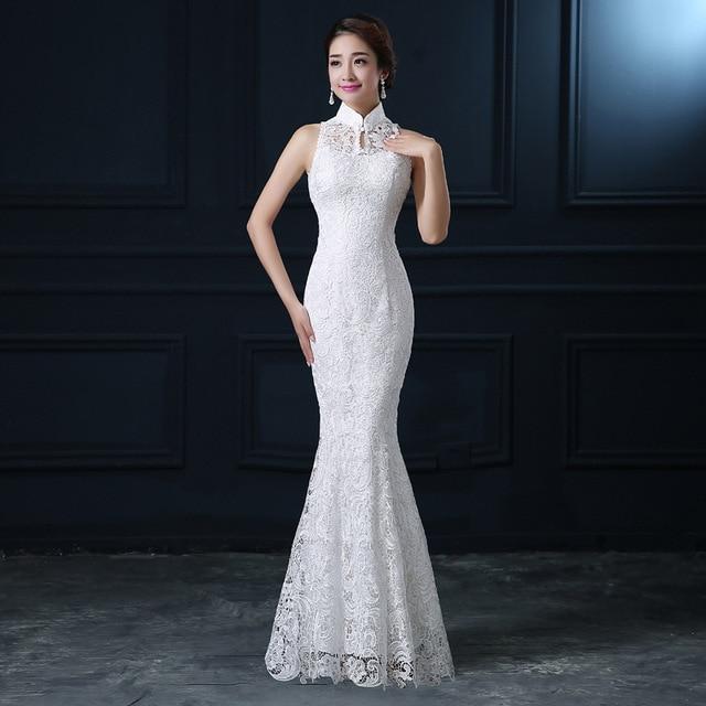 Qipao White Lace Cheongsam Modern Chinese Traditional Wedding Dress Women  Oriental Collars Sexy Long Qi Pao evening mermaid gown a2c7c4f5c8b1