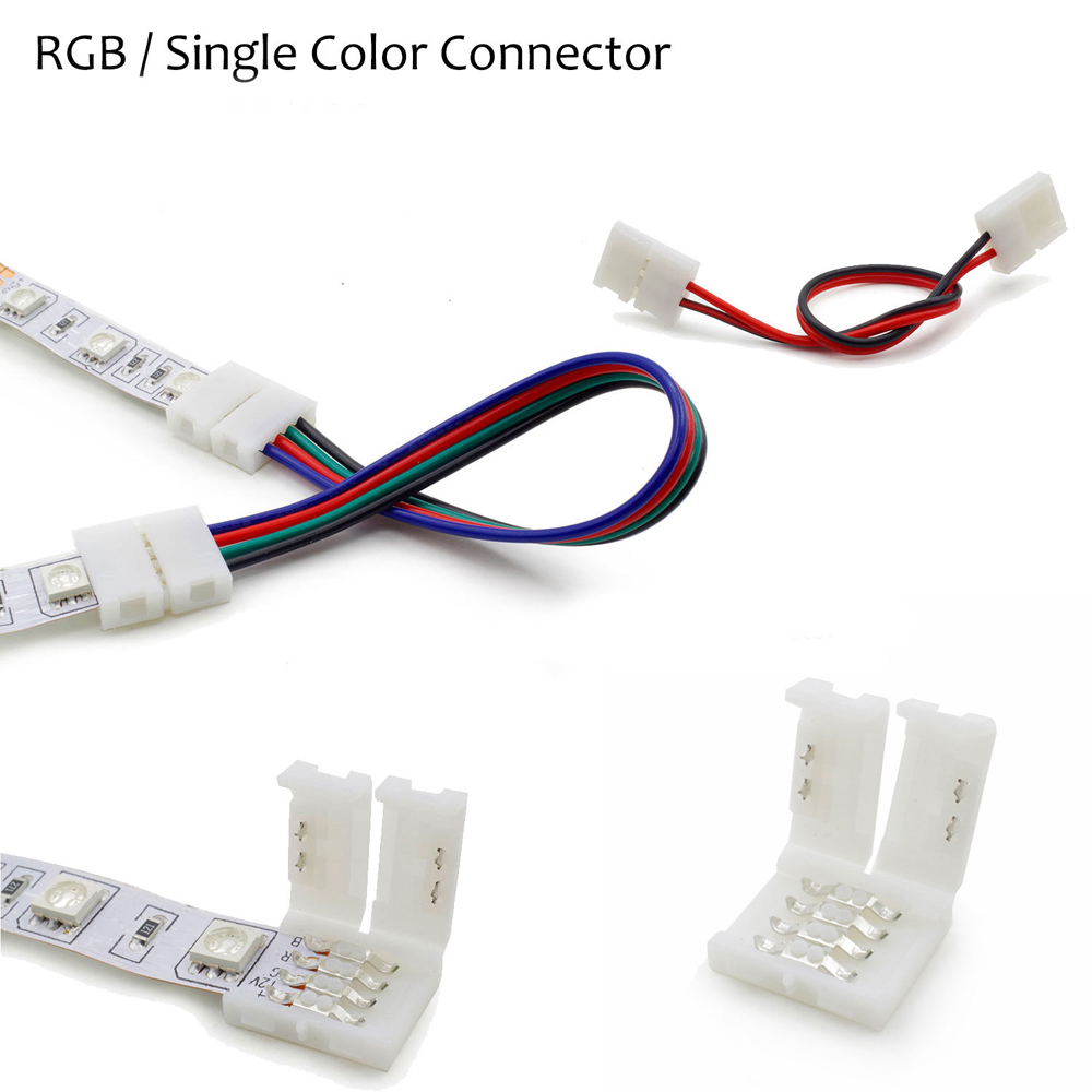 1 pcs 2Pin 4pin 5pin 8mm 10mm 12mm RGBW RGB Single Color solderless PCB board wire connection for 3528 5050 LED Strip light 10pcs lot 2pin 4pin 5pin led strip connector for single rgb rgbw color 3528 5050 led strip to wire connection use terminals