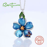925 Sterling Silver White Rhodium Plated Oval Big Blue Enamel Flower With Mini Butterfly Pendant HANDMADE