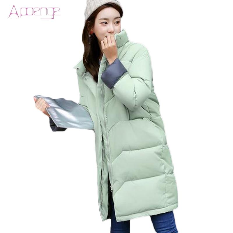 APOENGE 2017 Women Winter Warm Coat Slim Plus Size Jackets Cotton Padded Coats Female Medium-long Parkas Jaqueta Feminina LZ457 new laptop battery for asus k40 x8a oem 4400mah 11 1v