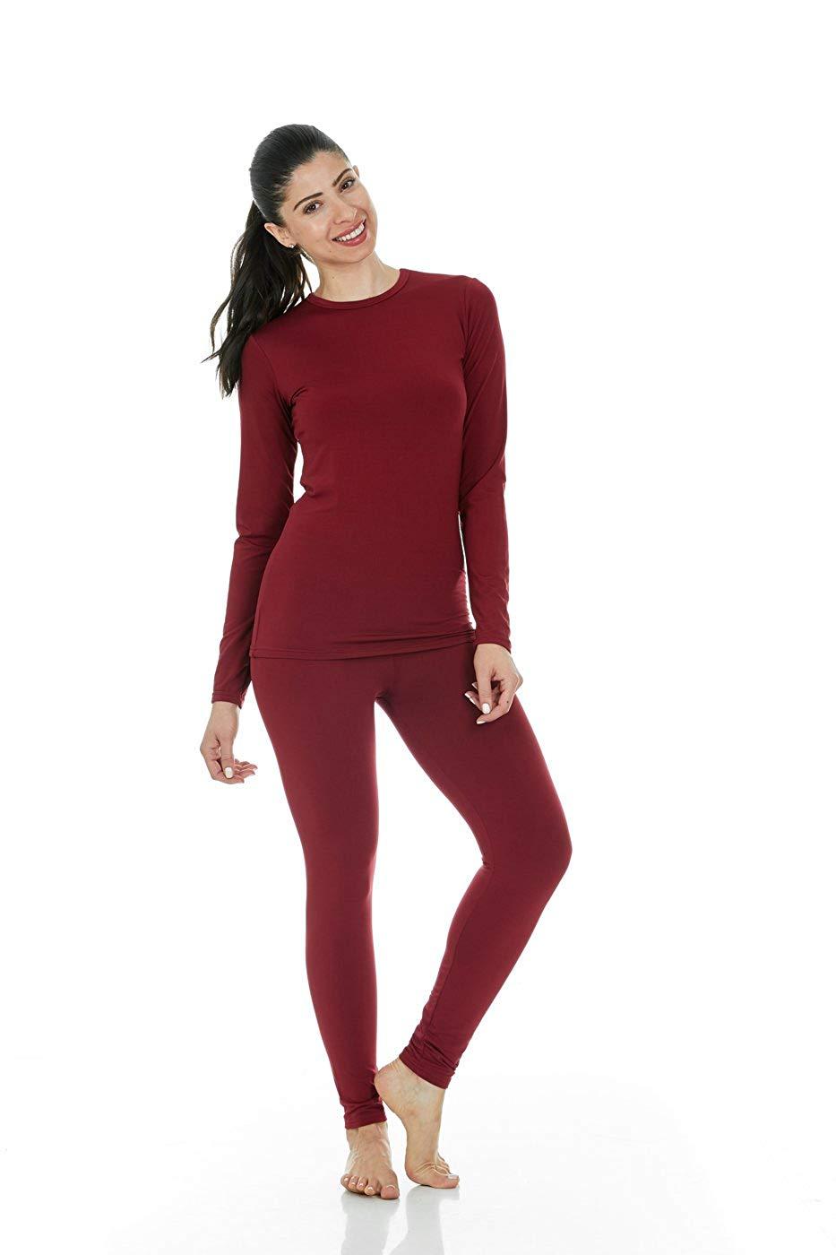 Women Soft Thermal Underwear Long Johns   Set   Fleece Autumn Winter Fleece Warm 2 Pieces Long Johns Large Slim Soft   Pajama     set