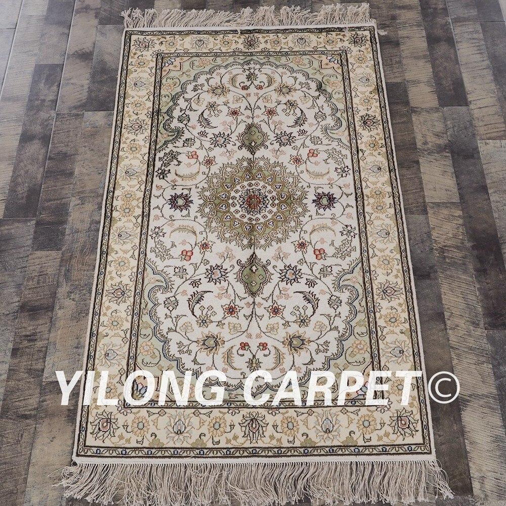 YILONG 3'x5 'tapis en soie persane design floral exquis tapis en soie turque fait main (YHW323B3x5)
