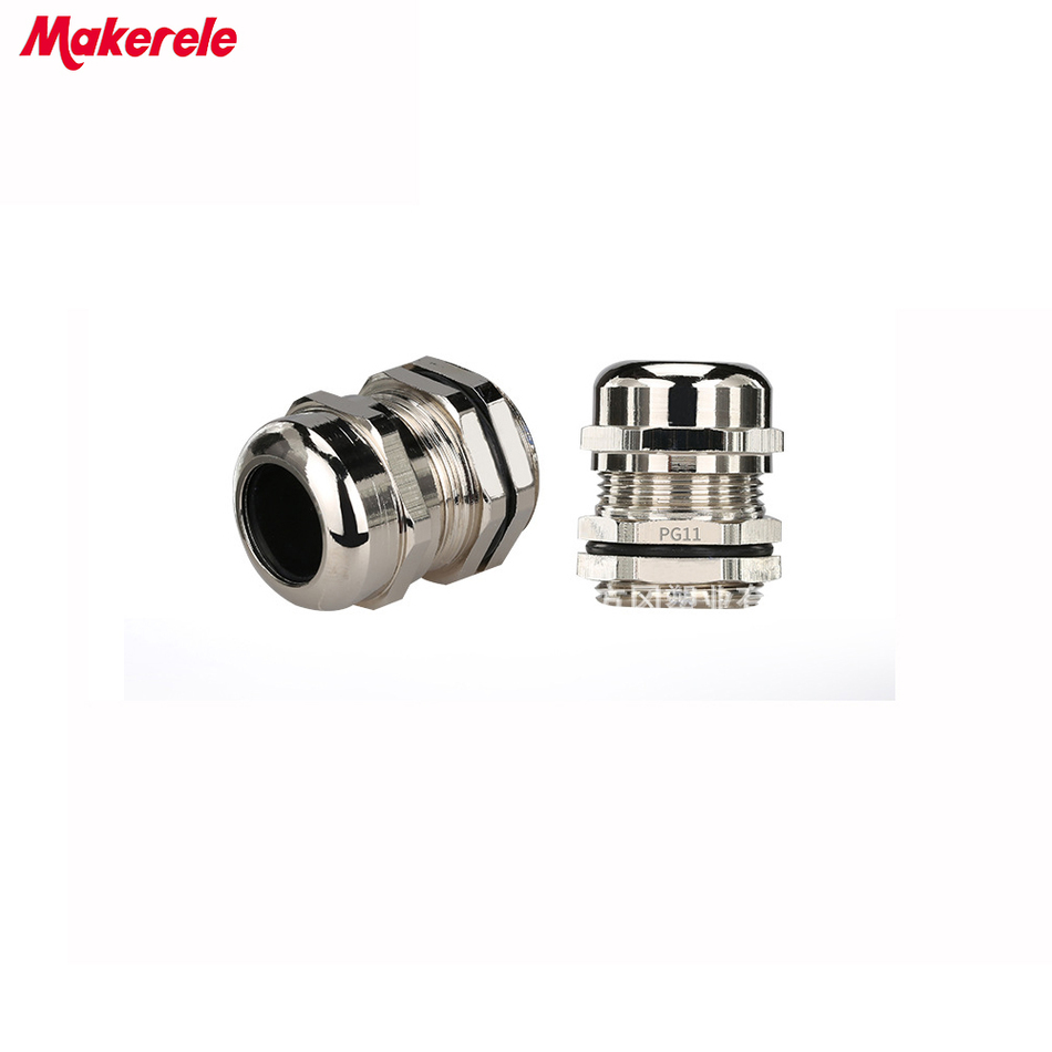10pcs/lots PG11 Nickel Brass Metal Waterproof Cable Glands Joints IP68 cable connector for 6-10mm