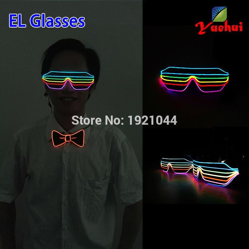 새로운 스타일 여섯 가지 색상 여러 가지 빛깔의 사운드 활성화 EL 와이어 패션 셔터 모양의 안경은 축제 파티 장식을위한 안경을 LED가