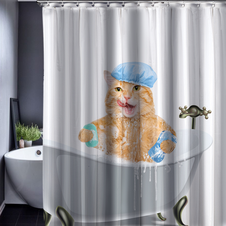 180x180cm Bear Bathing Cartoon Patten Shower Curtain