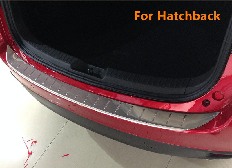 Hatchback Only! Stainless Steel Outer Rear Bumper Guard Plate Sill Trim 1pcs For Mazda 3 Axela 2014 2015 2016 2017 Car Styling! stainless steel rear outer bumper protector guard plate for jeep grand cherokee 2014