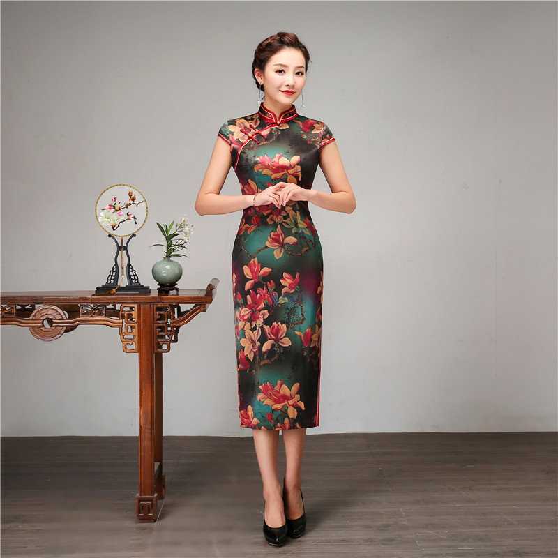 Royal Women Casual Daily Dress Chinese Style Print Flower Qipao 100% Silk Long Cheongsam Vintage Evening Party Dressing Gown