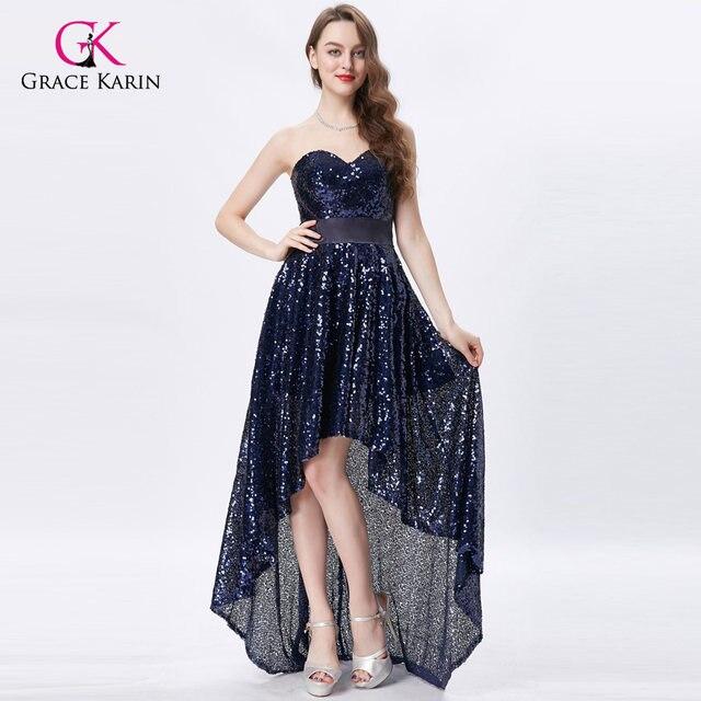 Online Shop Grace Karin Sparkly Prom Dress Short Front Long Back ...