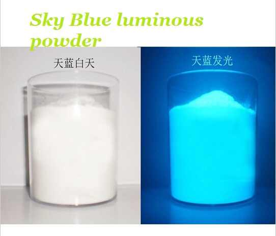 Free shipping White Glowing Sky Blue luminous powder phosphor pigment Noctilucent Powder Glow in Dark Dust Powder, 100g/lot