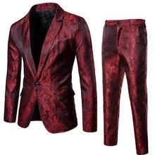Mens Sequin Blazer+Pants Two-piece Set   2018 Autumn Male Single Button Slim Fit Suit Blazer Man Party/Wedding/Club Dress Suits