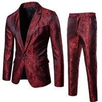 Mens Sequin Blazer+Pants Two piece Set | 2018 Autumn Male Single Button Slim Fit Suit Blazer Man Party/Wedding/Club Dress Suits