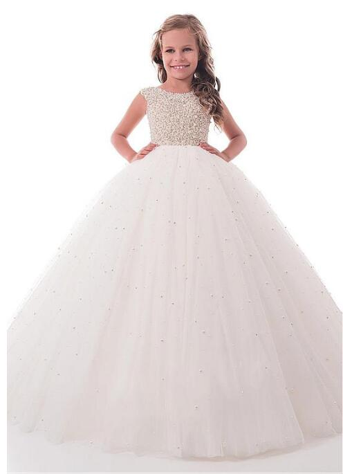Shining Pearls Tulle Jewel Neckline Communion Dress Full Length Ball Gown Flower Girl Dresses for Wedding
