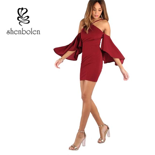 576243d06caa Shenbolen Burgundy Bodycon Party Dresses Asymmetric Bell Sleeve Sexy Summer  Dress 2017 Women's Ruffle Zip Back Mini Dress