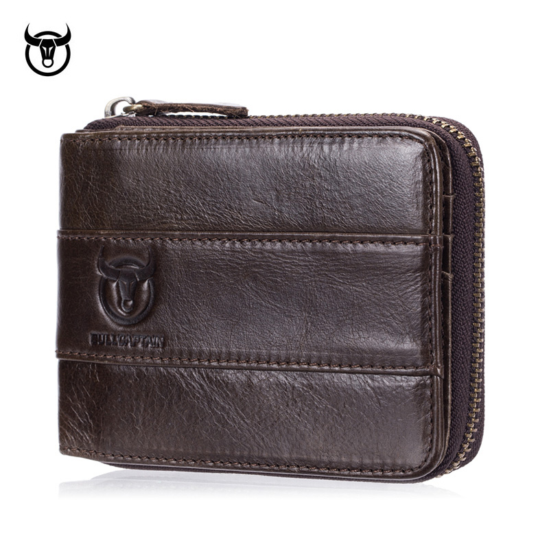Genuine Leather Men's Wallets Small Coin Purse Retro Zipper Wallet Cowhide Leather Card Holder Pocket Purse Men Wallets