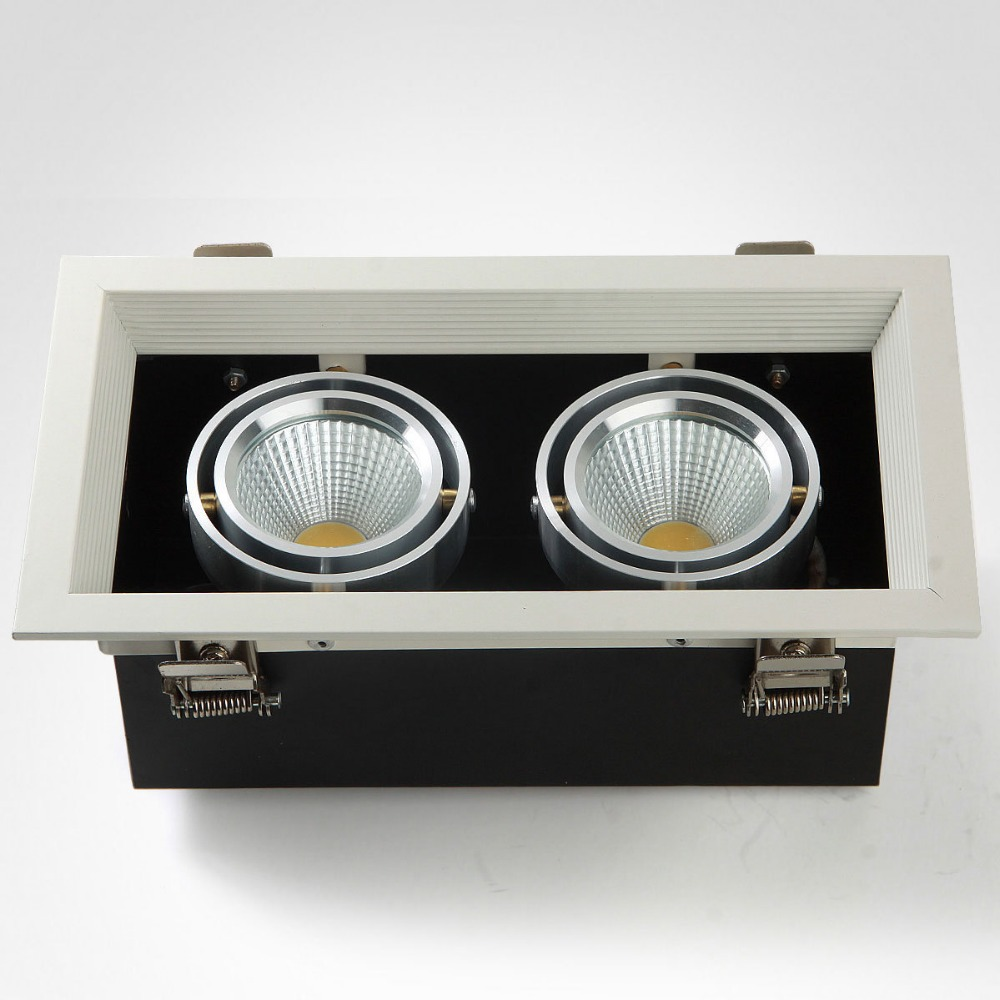 Free Shipping Wholesale 2 head 20W led grille light square 85-265V/AC COB LED grille downlight for ceiling lighting free shipping ip20 2 13w cut out 262 124mm 40degree citizen cob led grille down light