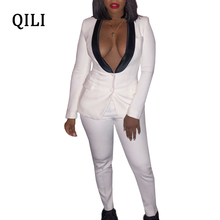 QILI White Two Piece Set Women Jumpsuits Sexy V-neck Long Sleeve Button Pockets Casual Jumpsuit Office Lady Work Business Wear