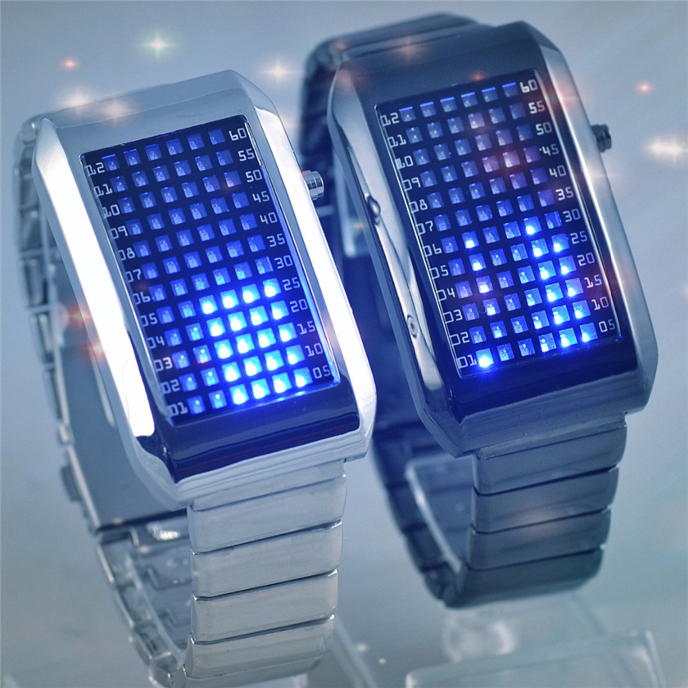 72 Lights LEDi Meteor Shower Light Table LED Couple Watch Electronic Watch Steel Luminous Durable Digital Men's Watch Gifts Benz