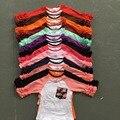 Nueva media envío gratis ruffles niñas bebés ropa niñas del o-cuello ocasional tops 13 color en stock Otoño top glas raglans camiseta
