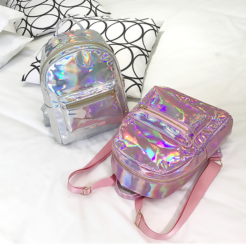 Backpack New Women Backpack Mini Travel Bags Silver Laser Backpack Women Girls Shoulder Bag Pu Leather Holographic Backpack