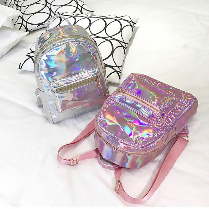 2018 rucksack Neue Frauen Rucksack Mini Reisetaschen Silber Laser Rucksack Frauen Mädchen Schulter Tasche PU Leder Holographische Rucksack