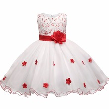 Flower Kids Girls Embroidered Dresses Bow Formal Party Clothes Prom Princess Bridesmaid Wedding Children Tutu Dress Size 3-7Y