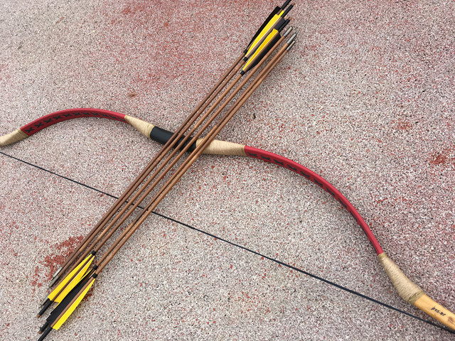 US $59 49 15% OFF| China Red leather bow really traditional Longbow  shooting hunting +6 bamboo arrows-in Bow & Arrow from Sports &  Entertainment on