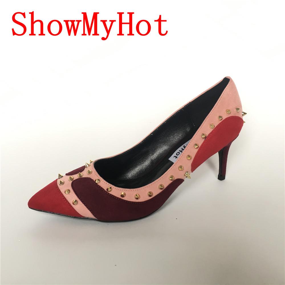 b0c14e4552f US $46.5 |ShowMyHot Top Quality Women flock Pumps design female High Heel  Rivet cartoon Shoes Pointed Toe Women Studded Stiletto Shoes-in Women's ...