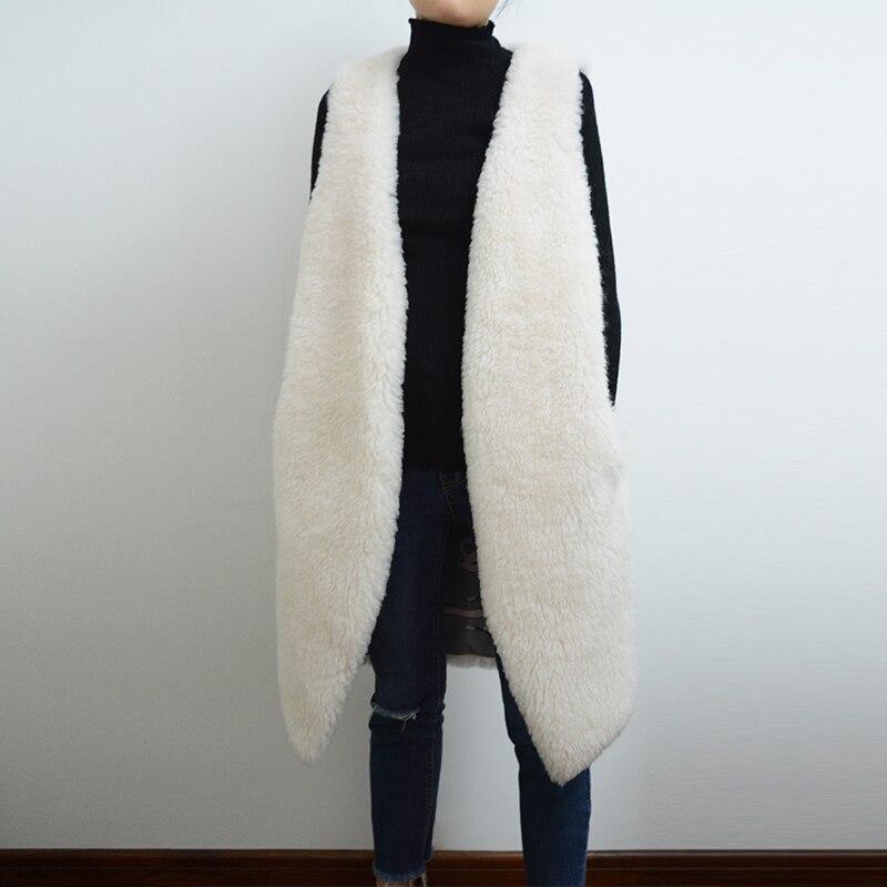Automne hiver 100% laine gilet femmes blanc fourrure gilet Long Style rf0144