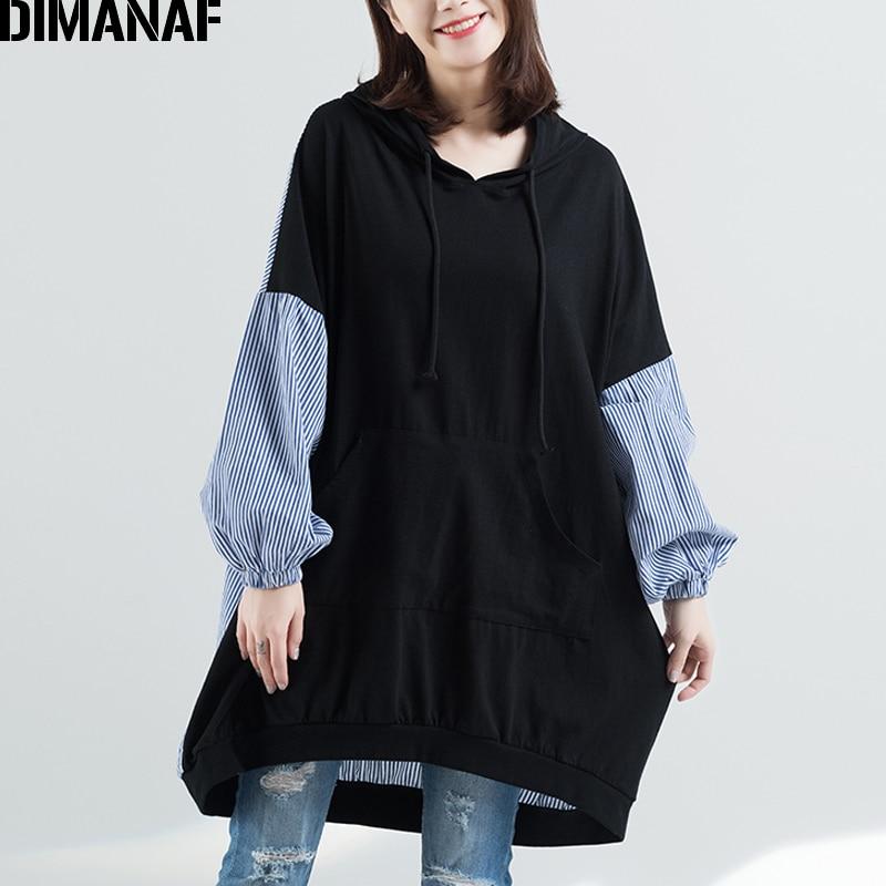 DIMANAF Women Hoodies Sweatshirts Autumn Cotton Patchwork Striped Black Femme Pullover Loose Oversized 2018 Plus Size Tops Shirt