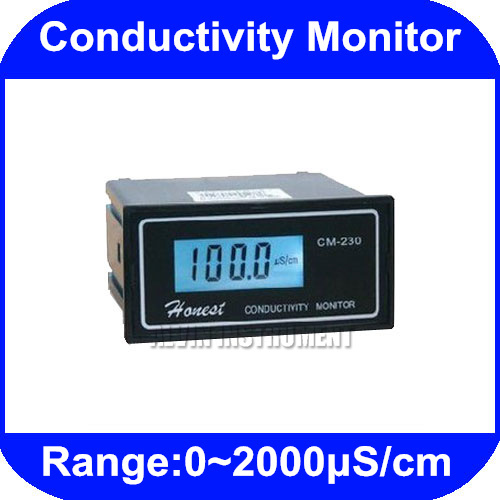 Free Shipping Industrial Online Conductivity Monitor Tester METER Analyzer 4~20mA  current output 0-2000us/cm ATC CM-230 hp 9800 4500w 85 265v 20a electric power energy monitor socket watt meter analyzer with socket output energy saving lamps tester