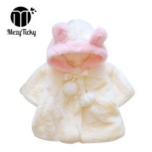 hot deal buy mezyticky toddler winter keep warm outerwear baby cute bear ears hooded coats infant children flannel cloak girls thick clothes