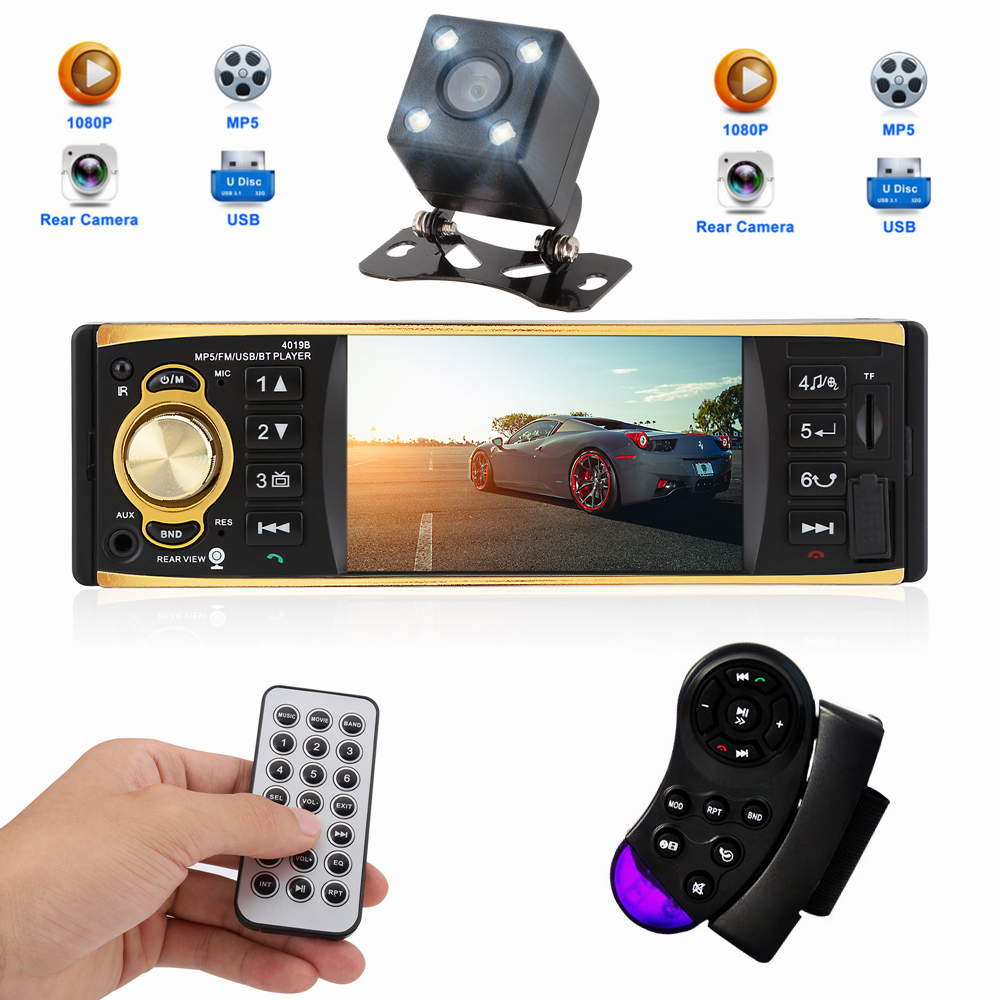4.1 Inch 1 Din 12V Car Radio Stereo Player With Bluetooth Remote Control MP3 MP5 Car Audio Player USB AUX FM Radio 4019B