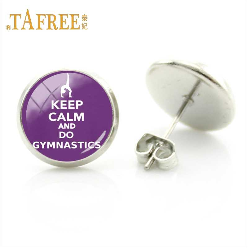 TAFREE Fashion Delicate Round Student Ear Studs Love Gymnastics Glamour Earrings Women Silver Plated Studs Earring Jewelry GY045