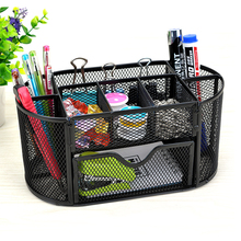 9 Storage Multi-functional Mesh Metal Desk Organizer Pen Holder Stationery Container Box Office School Supplies Caddy Black(China)