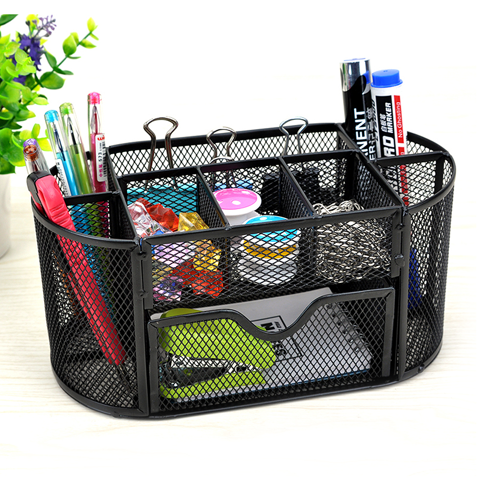 9 storage mesh metal desk organizer pen holder stationery container box office school supplies caddy black - Desk Organizer Tray