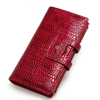 Women's wallet luxury brand crocodile pattern leather ladies handbag coin purse female first layer leather wallet