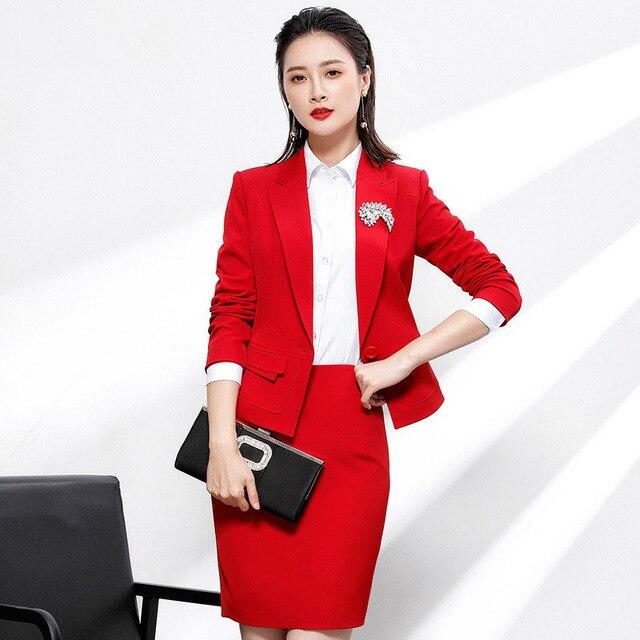 c3d25a682 € 44.71 40% de DESCUENTO|Mujer Traje dos piezas Set rojo Oficina uniforme  diseños mujeres falda elegante de la moda trajes formales señoras ...