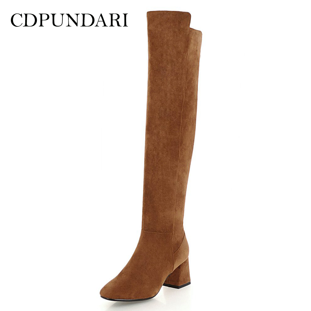 CDPUNDARI Flock over the knee boots women thigh high boots shoes woman High heel Winter boots Black Brown