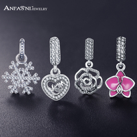 AANFASNI Genuine 100 925 Sterling Silver Pendant Charm Beads Fit Bracelet Bangle Necklace Authentic Jewelry For